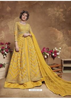 Yellow Latest Designer Party Wear Butterfly Net Aanarkali Suit