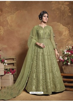 Green Latest Designer Party Wear Butterfly Net Aanarkali Suit