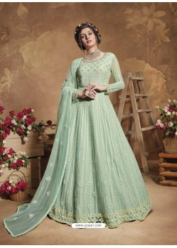 Sea Green Latest Designer Party Wear Butterfly Net Aanarkali Suit