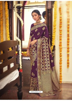 Purple Designer Classic Wear Jacquard Silk Sari