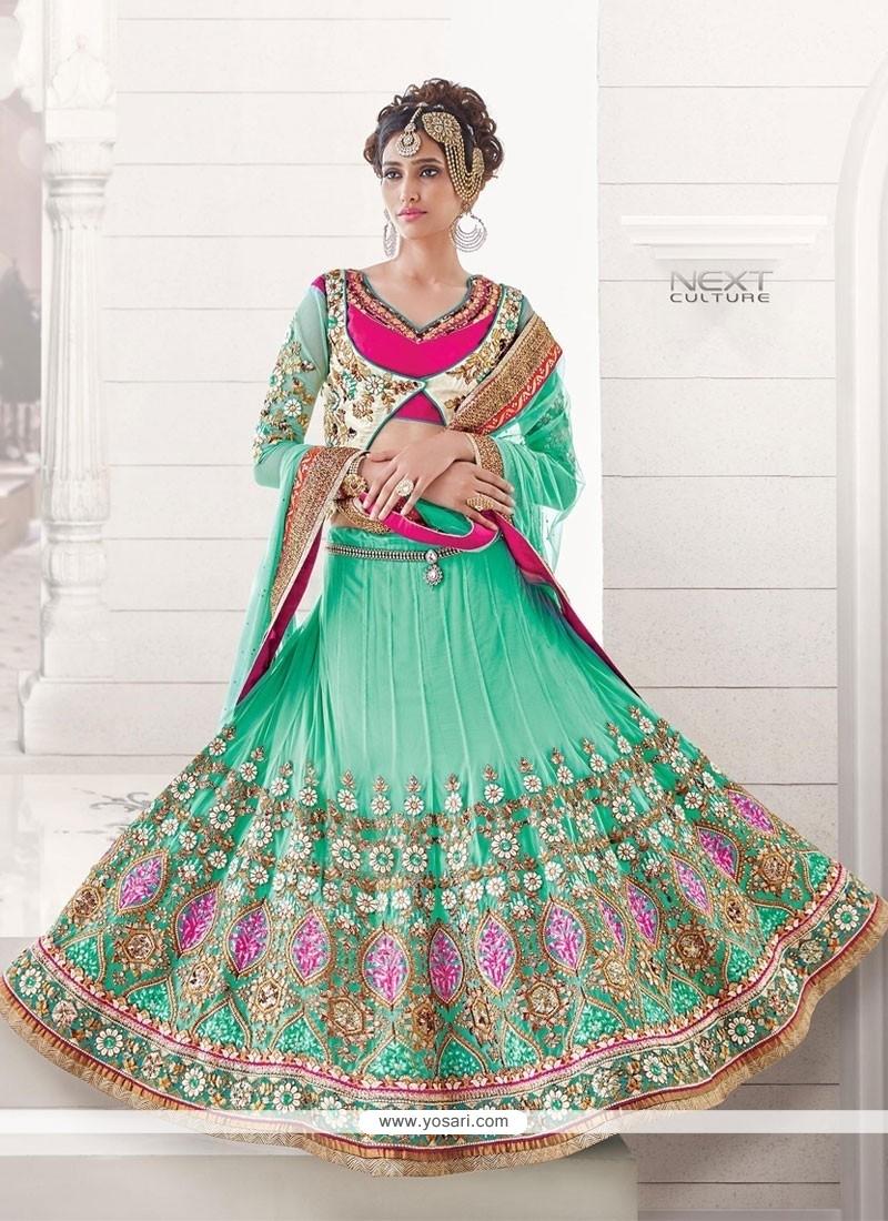 Splendid Turquoise Resham Work Net A Line Lehenga Choli