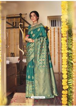 Teal Designer Classic Wear Jacquard Silk Sari