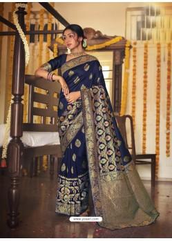 Navy Blue Designer Classic Wear Jacquard Silk Sari