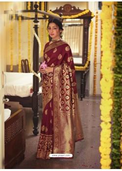 Maroon Designer Classic Wear Jacquard Silk Sari