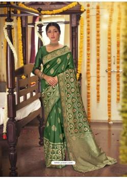 Dark Green Designer Classic Wear Jacquard Silk Sari