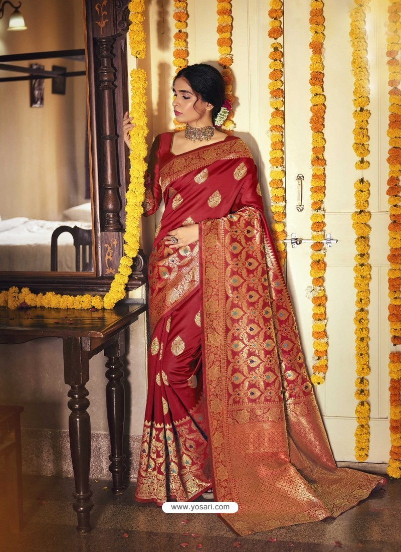 Red Designer Classic Wear Jacquard Silk Sari