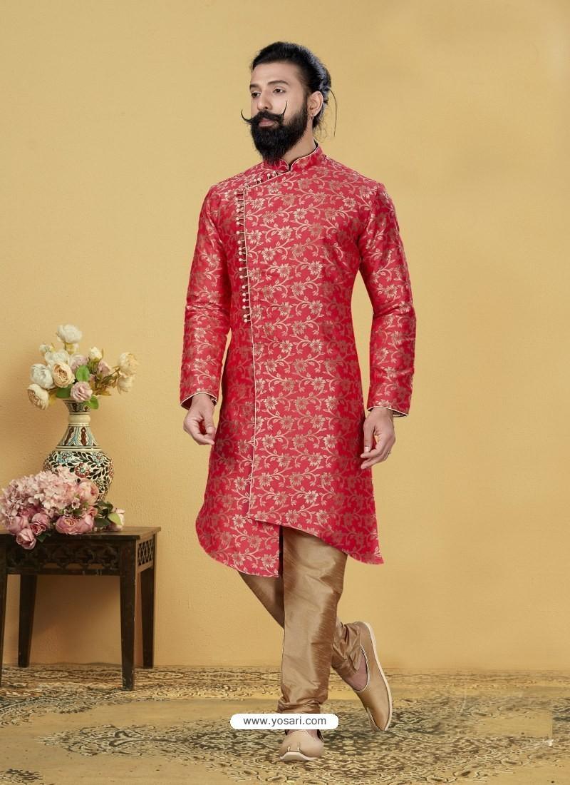 Dark Peach Readymade Designer Indo Western Sherwani
