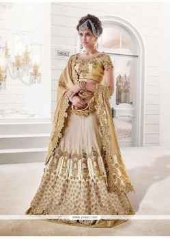 Staring Cream Resham Work Raw Silk A Line Lehenga Choli