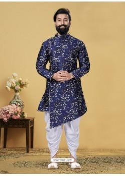 Dark Blue Readymade Designer Indo Western Sherwani