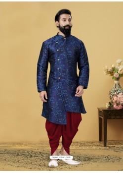 Royal Blue Readymade Designer Indo Western Sherwani
