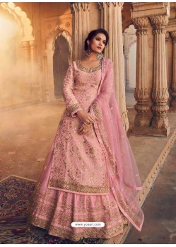 Pink Designer Party Wear Pure Dola Jacquard Wedding Lehenga Suit
