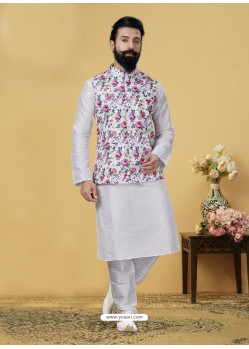 White Exclusive Readymade Kurta Pajama With Jacket
