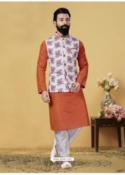 Orange Exclusive Readymade Kurta Pajama With Jacket