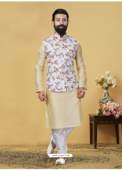 Gold Exclusive Readymade Kurta Pajama With Jacket
