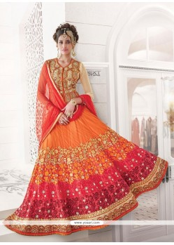 Elite Orange Embroidered Work Net A Line Lehenga Choli