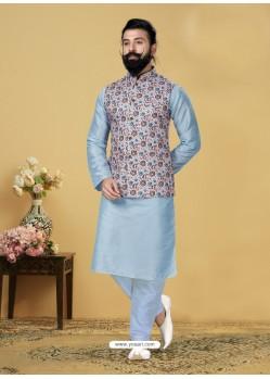 Sky Blue Exclusive Readymade Kurta Pajama With Jacket