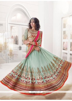 Incredible Blue Embroidered Work A Line Lehenga Choli