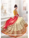 Enchanting Cream And Red Embroidered Work Net A Line Lehenga Choli