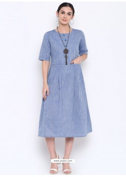 Blue Designer Readymade Party Wear Kurti