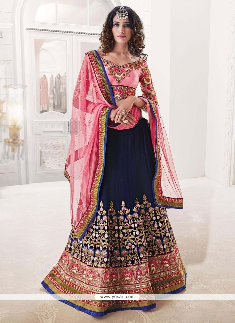 Intricate Navy Blue And Pink Embroidered Work A Line Lehenga Choli