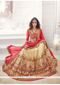 Imposing Red And Beige Embroidered Work Silk A Line Lehenga Choli