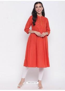 Orange Designer Readymade Party Wear Kurti