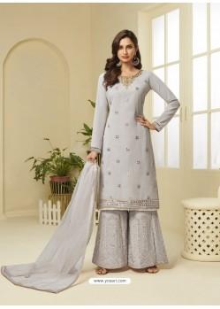 Light Grey Designer Heavy Embroidered Georgette Sharara Suit