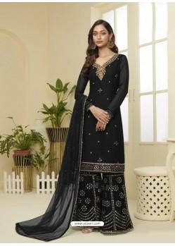 Black Designer Heavy Embroidered Georgette Sharara Suit