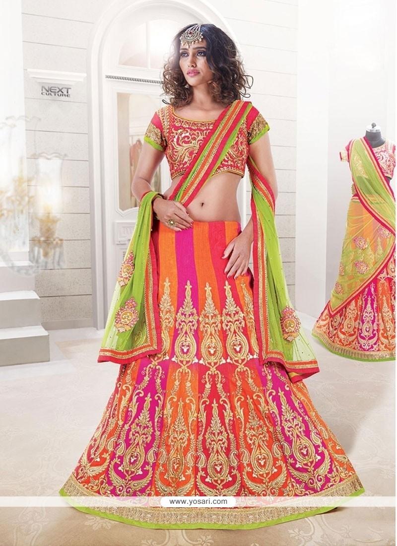 Phenomenal Raw Silk Multi Colour A Line Lehenga Choli