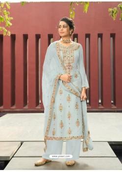 Aqua Grey Designer Silk Minakari Jacquard Palazzo Salwar Suit