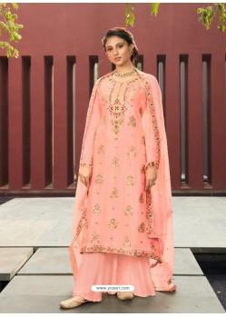 Peach Designer Silk Minakari Jacquard Palazzo Salwar Suit