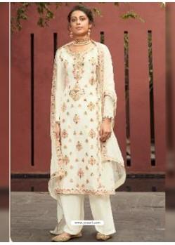 White Designer Silk Minakari Jacquard Palazzo Salwar Suit