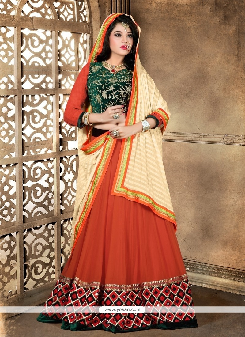 Captivating Embroidered Work Orange A Line Lehenga Choli