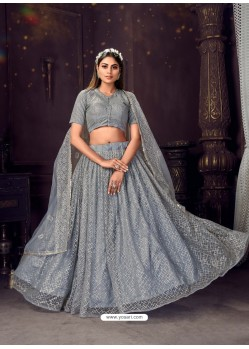 Grey Heavy Embroidered Designer Net Wedding Lehenga Choli