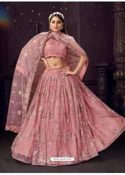 Pink Heavy Embroidered Designer Net Wedding Lehenga Choli