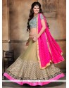 Sparkling Embroidered Work Pink And Beige A Line Lehenga Choli