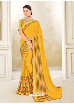 Yellow Scintillating Latest Designer Party Wear Sari