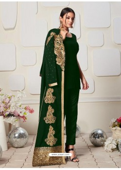 Forest Green Latest Designer Heavy Embroidered Party Wear Front-Cut Anarkali Suit