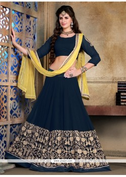 Graceful Navy Blue Georgette A Line Lehenga Choli