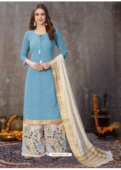 Blue Designer Party Wear Embroidered Palazzo Suit
