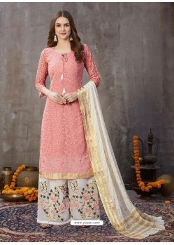 Pink Designer Party Wear Embroidered Palazzo Suit