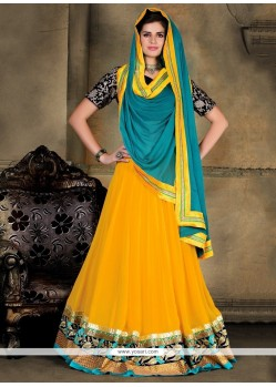 Stylish Yellow A Line Lehenga Choli