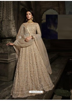 Gold Latest Designer Heavy Embroidered Party Wear Anarkali Suit