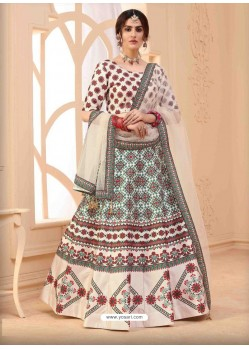 Off White Designer Art Silk Party Wear Lehenga