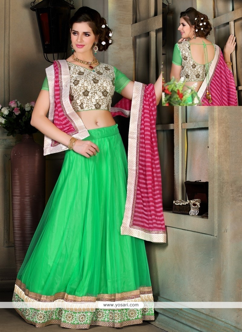 Blissful Net Embroidered Work A Line Lehenga Choli