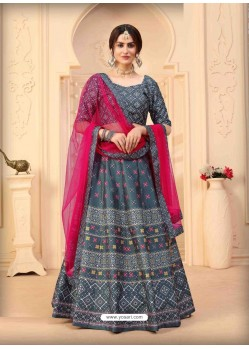 Grey Designer Art Silk Party Wear Lehenga