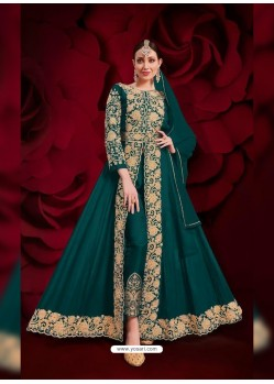 Teal Latest Designer Heavy Embroidered Party Wear Front-Cut Anarkali Suit
