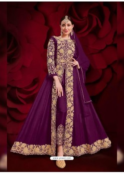 Violet Latest Designer Heavy Embroidered Party Wear Front-Cut Anarkali Suit
