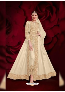 Off White Latest Designer Heavy Embroidered Party Wear Front-Cut Anarkali Suit