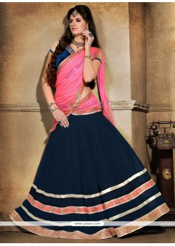 Praiseworthy Georgette Navy Blue And Pink A Line Lehenga Choli